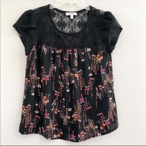 Meraki Lovely Black Floral Design Lace Detail Top